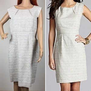 Gianni Bini Linen Blend Grey White Sheath Dress